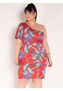 Vestido Floral Com Decote Assimétrico Plus Size