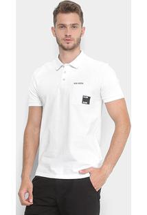 Camisa Polo Bolso Estampado Calvin Klein Manga Curta Masculina - Masculino