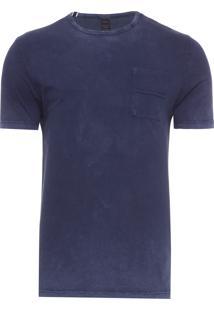 Camiseta Manga Curta Lateral E Bolso A Fio - Azul