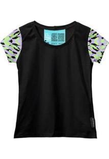 Camiseta Baby Look Feminina Algodão Estampa Moda Casual Leve - Feminino-Verde+Preto