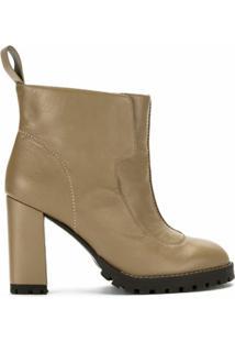 Sarah Chofakian Ankle Boot De Couro Com Recortes - Marrom