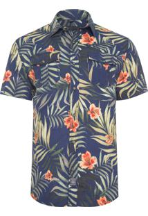 Camisa Masculina Lily Leaves - Azul