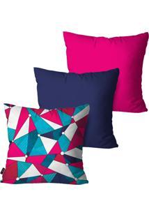 Kit Com 3 Capas Para Almofadas Pump Up Decorativas Pink Geométricas Collors 45X45Cm