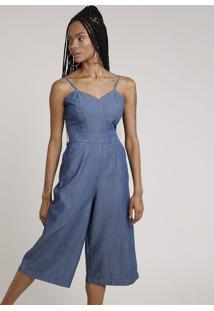Macacão Jeans Feminino Pantacourt Com Bolsos Alça Fina Azul Escuro
