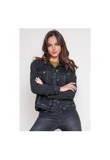 Jaqueta Jeans Dialogo Estonada Black Com Botões