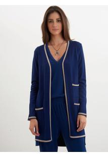 Casaco Le Lis Blanc Vivian Médio Ii Tricot Azul Marinho Feminino