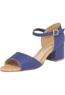 Sandália Crysalis Salto Quadrado Azul