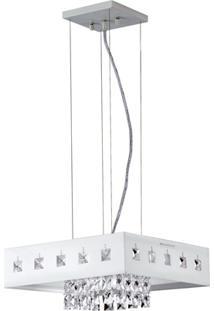 Pendente Em Acrílico Para 1 Lâmpada Quadrado Viena 110V Branco