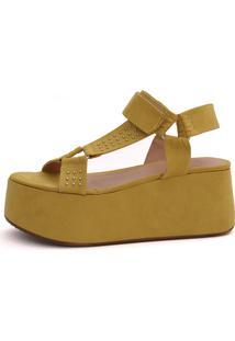 Sandália Plataforma Damannu Shoes Alicia Amarelo