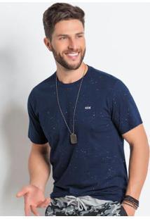 Camiseta Actual Marinho Com Decote Redondo