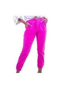 Calça Jogger Rosa Pink Feminino Liso Cintura Alta Com Cordão Em Algodão
