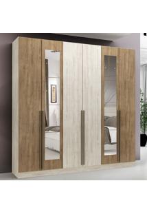 Guarda-Roupa Casal 6 Portas 3 Gavetas New Toronto Com Espelho Vanilla/Ipê Tex - Maxel