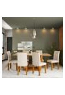 Conjunto De Mesa De Jantar Com Vidro E 6 Cadeiras Amélia I Veludo Imbuia E Creme