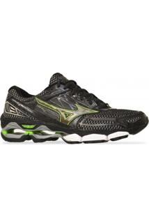 Tenis Mizuno Running Wave Creation 19 Preto Verde