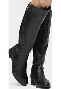 Bota Over The Knee Bebecê Zíper Feminina - Feminino-Preto