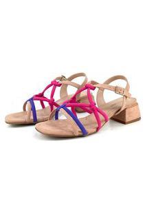 Sandália Emporionaka Tiras Salto Médio Multicolorido