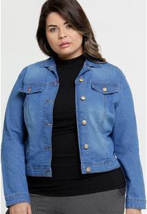 Jaqueta Feminina Jeans Botões Plus Size