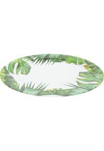 Bandeja Oval Leaves Folhagens- Branca & Verde- 41X28Bon Gourmet