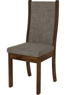 Cadeira Malta 2 Peças - Rústico Malbec Com Linho Bronze
