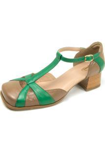 Sapato Retrô Bico Quadrado Touro Boots Feminino Bege E Verde - Kanui