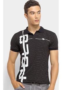 Camisa Polo Rg 518 Listrada Malha Masculina - Masculino-Preto