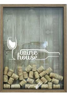 Quadro Porta Rolhas 32X42X4Cm Wine House Natural