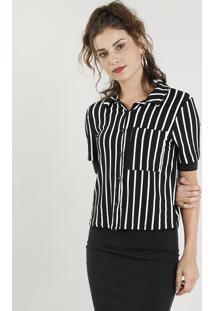debd926b4dd30 ... Camisa Feminina Cropped Listrada Com Bolso Manga Curta Preta