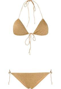Oseree Halter Neck Lurex Bikini - Dourado