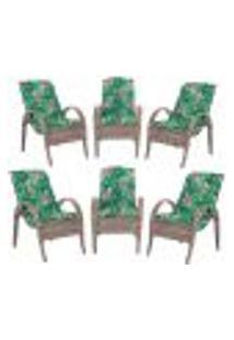 Cadeiras 6Un P/ Jardim Lazer Edicula Varanda Descanso Fibra E Tramas Napoli Plus Argila A01