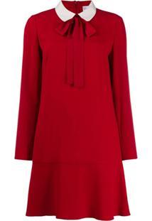 Red Valentino Pussy Bow Short Dress - Vermelho