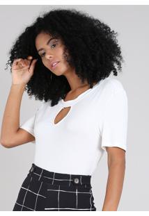 Blusa Feminina Canelada Com Vazado Manga Curta Decote Redondo Off White