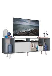 Rack Para Tv Até 65 Polegadas Madesa Cancun Com Pés Cinza/Branco F709 Cor:Cinza/Branco