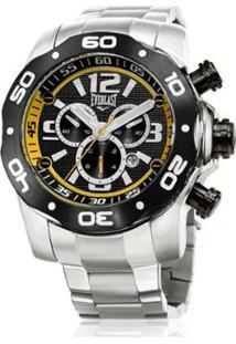 14aae25b540 ... Relógio Pulso Everlast Masc E595 Cx Pulseira Aço Analógico -  Masculino-Preto+Amarelo