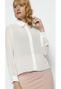 Camisa Lisa Em Crepe - Brancamoisele
