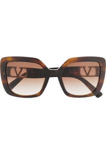 Valentino Eyewear Óculos De Sol Quadrado Vlogo - Preto