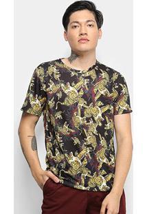 Camiseta Cavalera T Shirt Tiger I Masculina - Masculino-Onça