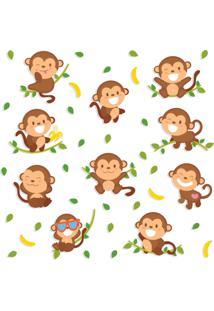 Adesivo De Parede Macacos Sorridentes - Marrom - Dafiti