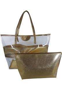 Bolsa Bag Dreams De Praia Com Necessaire Impermeável Dourada