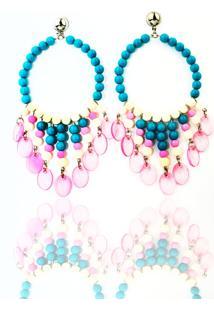Brinco Luxo Feminino Racy Modas Blue Pink Seeds