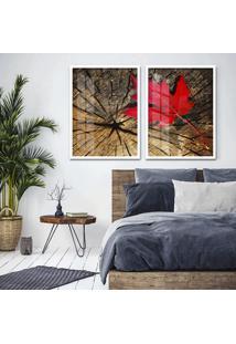 Quadro 65X90Cm Canadã¡ Vermelho Sobre Tronco Moldura Branca Com Vidro - Multicolorido - Dafiti
