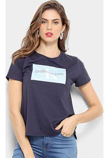 Camiseta Calvin Klein Básica Estampa Logo Feminina - Feminino-Marinho