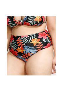 Biquíni Calcinha Plus Size Hot Pant Estampado Floral Com Proteção Uv50+ Preto