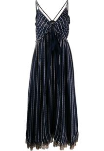 Chloé Vestido Midi Com Listras - Azul