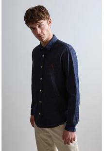 Camisa Reserva Cont. Ae Easy Oxford Denim Ml Masculina - Masculino-Azul