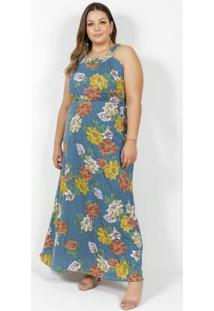 Vestido Longo Floral E Poá Franzido Plus Size