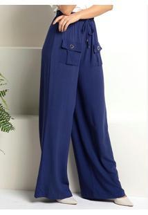 Calça Pantalona Azul Com Bolsos Frontais