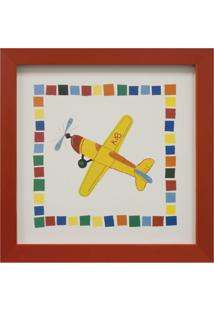 Quadro Montado Com Vidro Avião 23X23Cm Vermelho