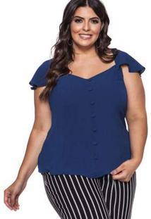 Blusa Almaria Plus Size Pianeta Lisa Azul Marinho Azul