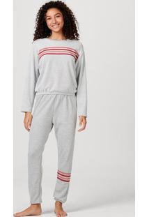 Pijama Feminino Manga Longa Em Algodão E Poliéster