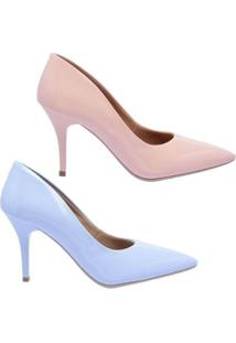 Kit 2 Pares De Scarpin Casual Salto Médio Ellas Online Feminino - Feminino-Rosa+Azul